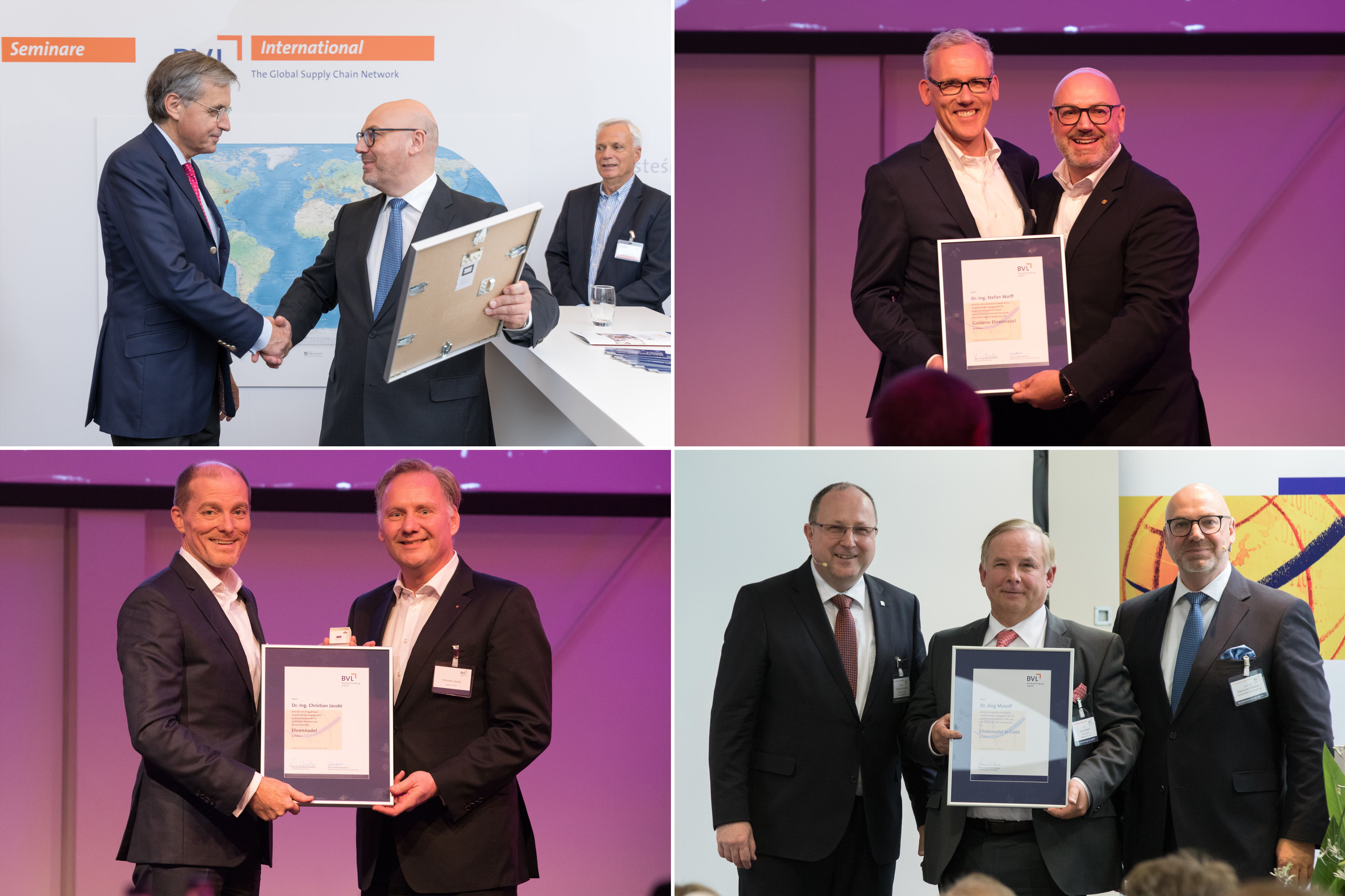 The Board recognised the efforts of long-standing Board member Dr. Ottmar Gast (photo top left), who was named an honorary member for life, and Treasurer Dr.-Ing. Stefan Wolff (photo top right), who was presented with the badge of honour in gold. The badge of honour was presented to the Chairman of the BVL Research Council, Dr. Christian Jacobi (photo bottom left), and Dr. Jörg Mosolf, entrepreneur and member of the Research Council of DAV (photo bottom right).